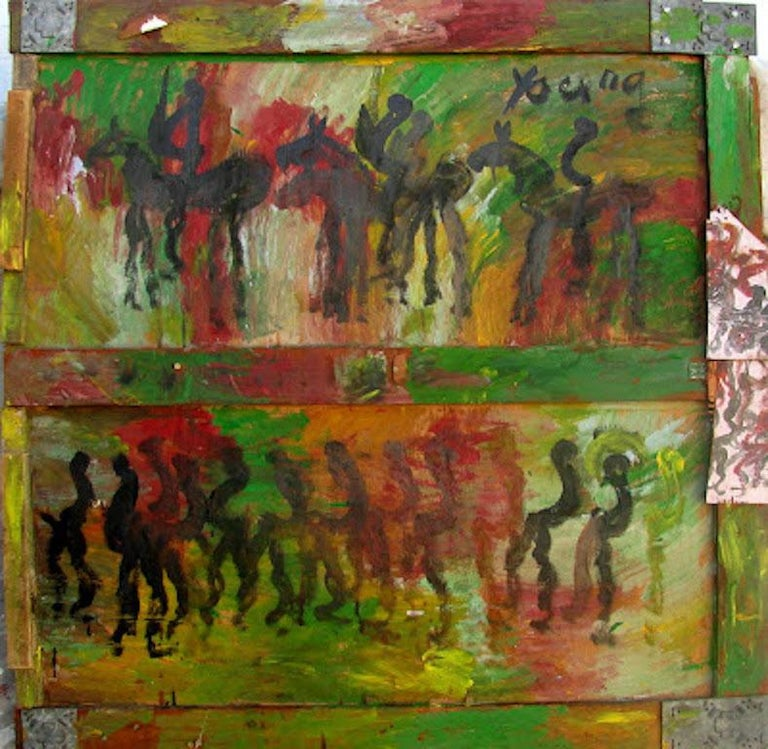 Purvis Young, Horses and People, Diptych Painting on Plywood - Brown Figurative Painting by Purvis Young