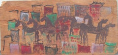 Purvis Young, Horses in the City, Painting on Door Skin