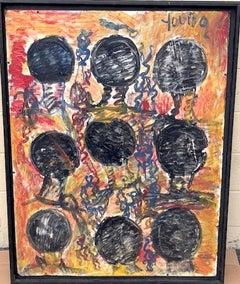 Purvis Young, Nine Heads, Acrylic on Canvas circa 1990