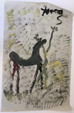 Purvis Young, Painting of a Horse and Figure, Acrylic on Newsprint circa 1990