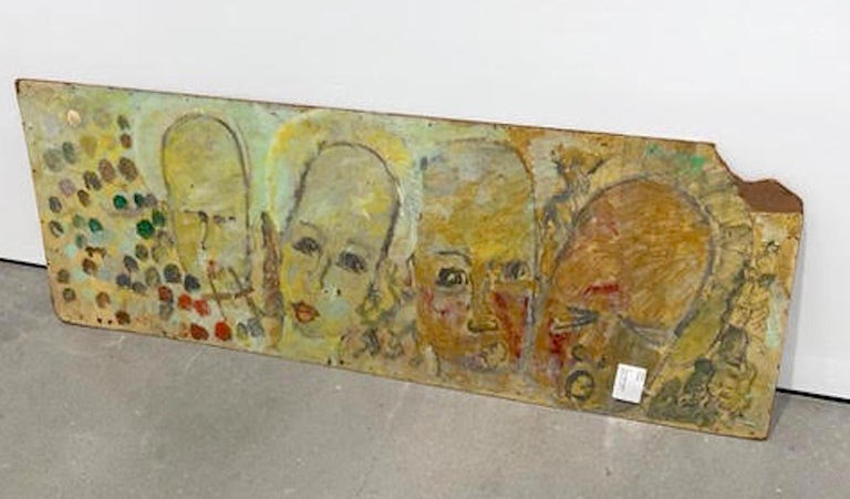 Purvis Young, Painting on Fiber Board of Four Yellow Angels circa 1990 For Sale 1