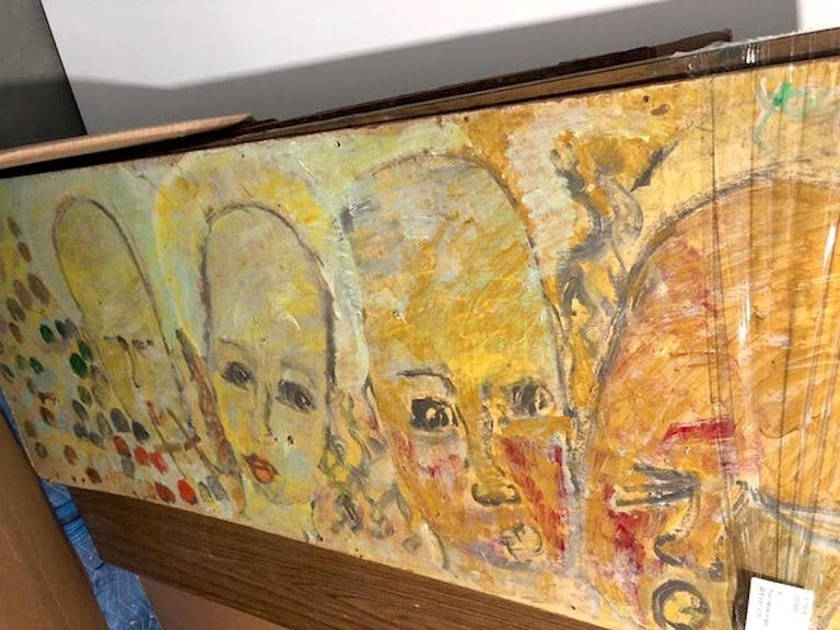 Purvis Young, Painting on Fiber Board of Four Yellow Angels circa 1990 For Sale 2