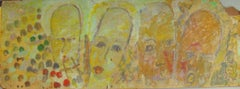 Purvis Young, Painting on Fiber Board of Four Yellow Angels circa 1990