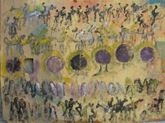Purvis Young, Purple Angel Heads, Painting on Door Skin