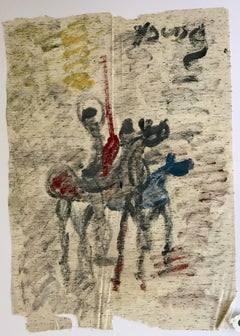 """Purvis Young, """"The Horseman,"""" Acrylic on Unstretched Cloth circa 1990"""