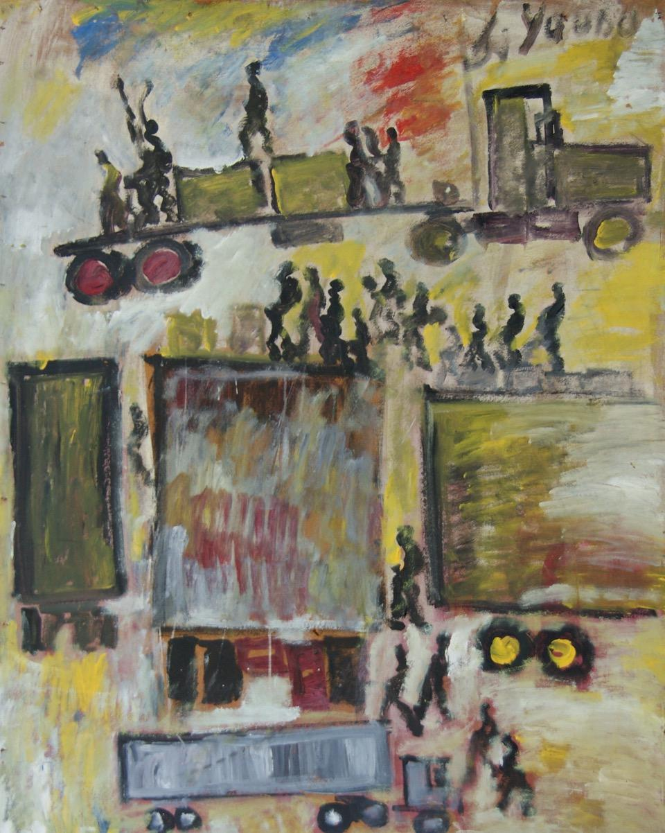 """""""Trucks in the City"""" African American Self-Taught Florida Outsider Folk Art"""