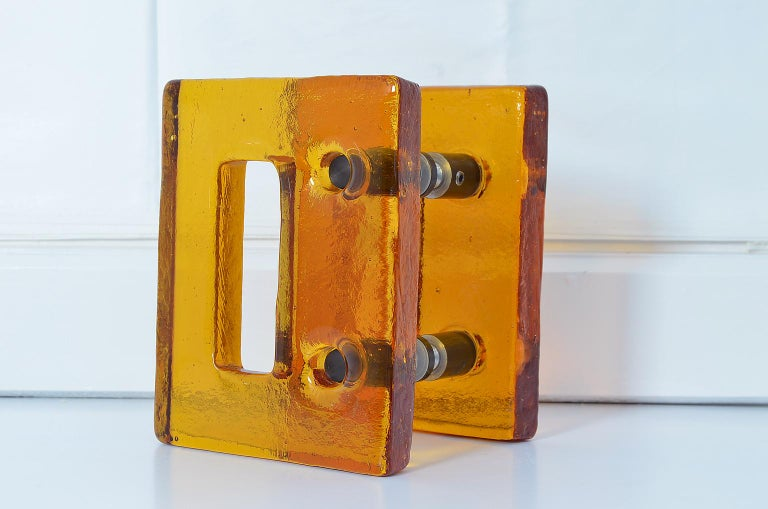 Cast Push and Pull Door Handle in Orange Glass with Brass Fittings, France, 1970s For Sale