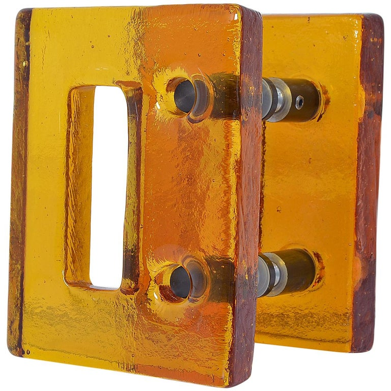 Push and Pull Door Handle in Orange Glass with Brass Fittings, France, 1970s For Sale