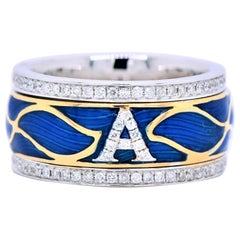 Push Present, Initial Enamel Ring, White Gold 18 Karat, Gifts for Her