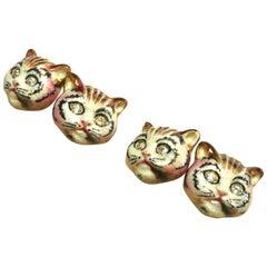 Pussycats Emaille Diamant und Gold Manschettenknöpfe