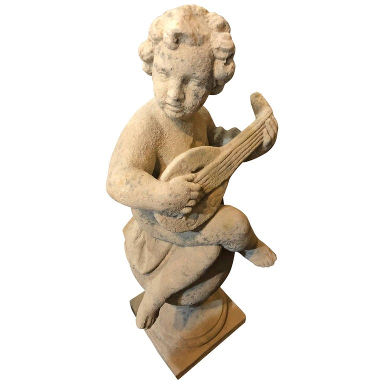 Putti Musician Statue on a Ball Base For Sale