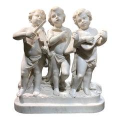 Putti Musicians Marble Sculpture