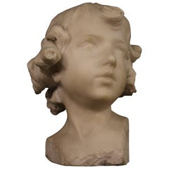 Putto Head Signed Marble Sculpture, 20th Century