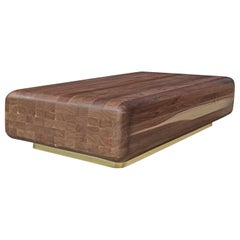 Puzzle Coffee Table in American Black Walnut with Brass Base by Mark Jupiter