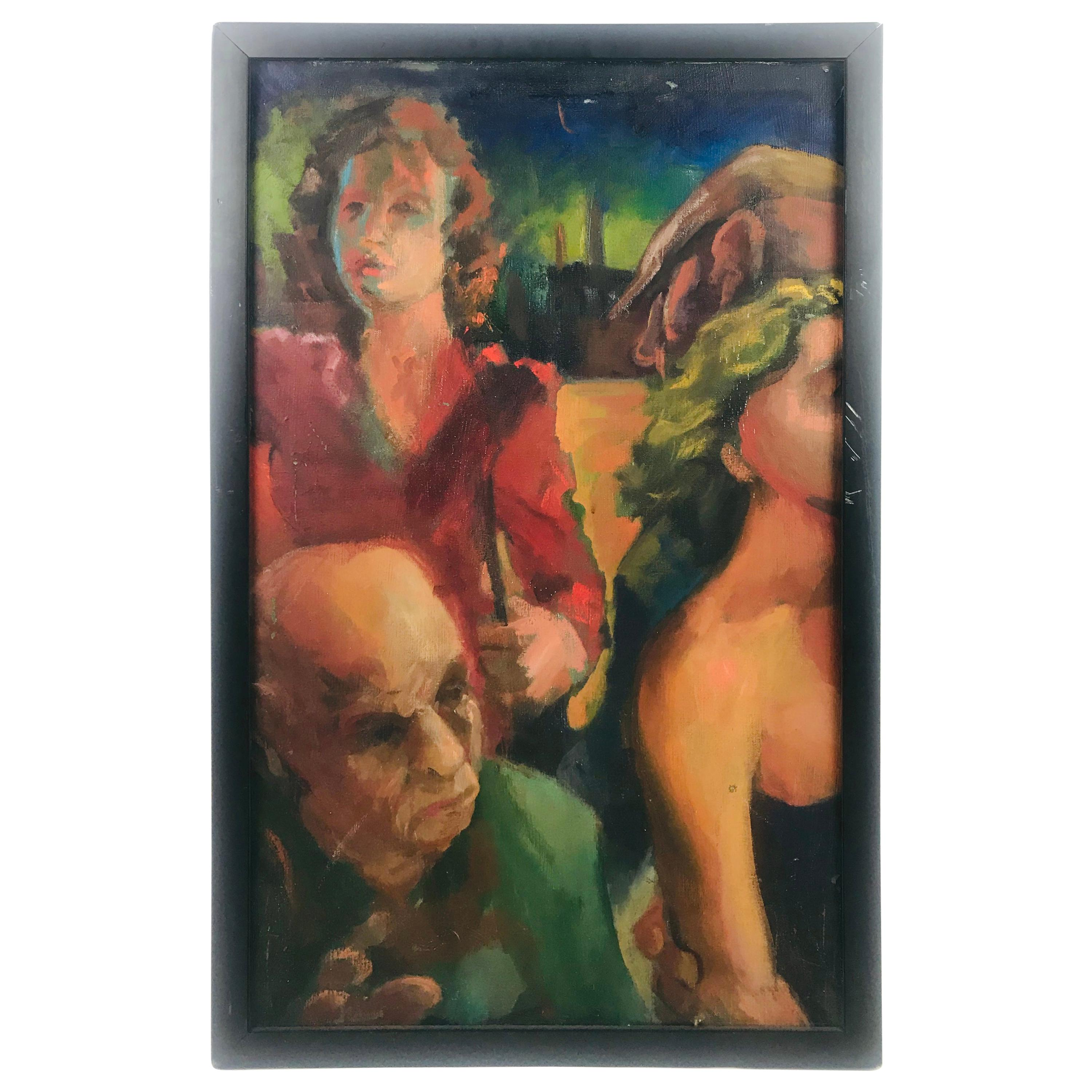 """""""Puzzled People"""" '1987-1988' by John Nieman Oil on Canvas"""