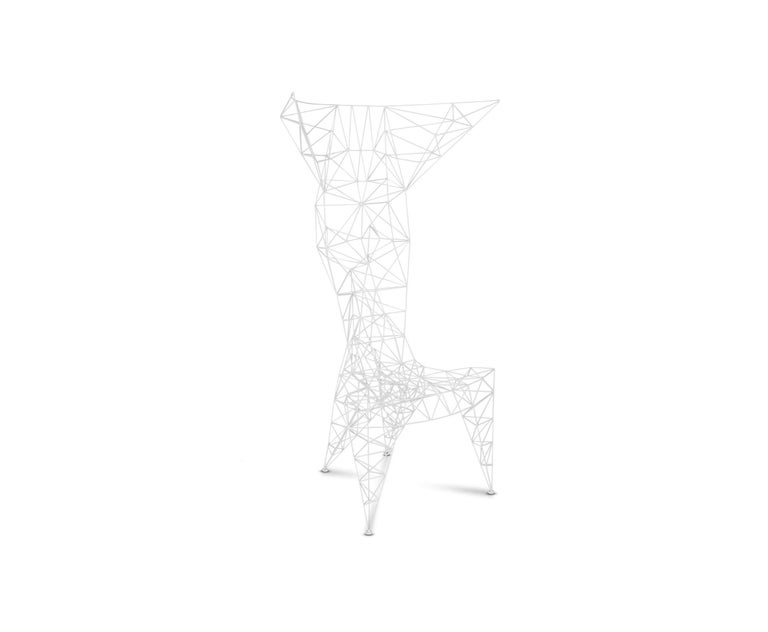 Originally created on a self-propelled mission to design the world's lightest metal chair, Pylon was made in a small series in Dixon's metal workshop in the early 1990s. The lattice work of 3mm diameter steel rod is triangulated for maximum strength