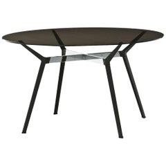 """Pylon"" Round Table with Bronze Glass Top and Steel Base by Moroso for Diesel"