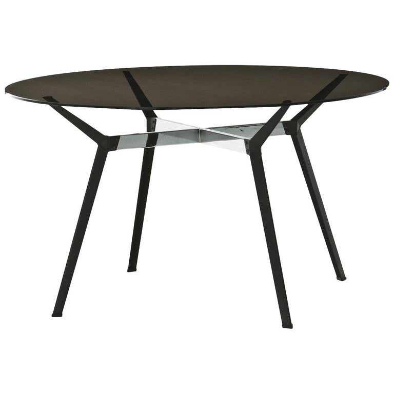 """Pylon"" Round Table with Bronze Glass Top and Steel Base by Moroso for Diesel For Sale"