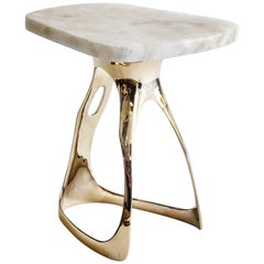 Pyra Table, Polished Bronze and Quartzite Top, Design by Michael Sean Stolworthy