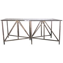 Pyramid Bronze Console Table with Glass Top