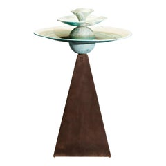 'Pyramid' by Tom Torrens Patinated Copper Fountain Bird Bath, 1990s, Signed