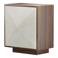 Pyramid Cabinet in Walnut with Goatskin Parchment and Brass