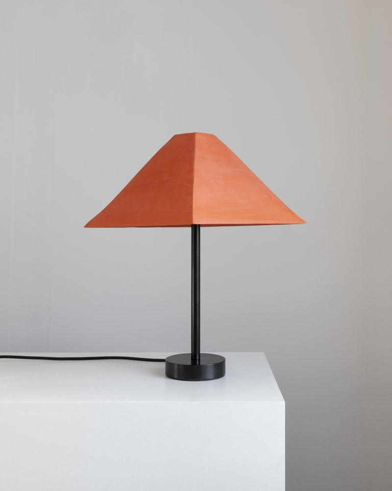 Modern Pyramid Ceramic Table Lamp with Tan or Terracotta Shade For Sale