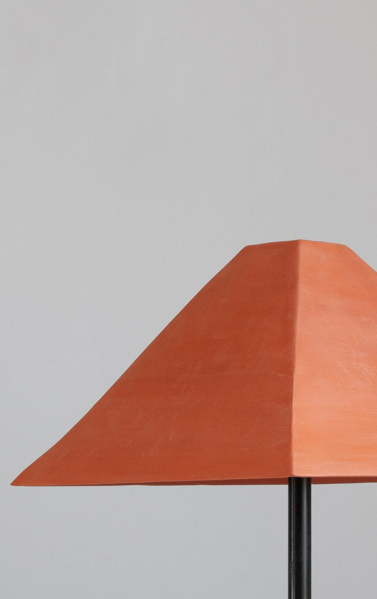 American Pyramid Ceramic Table Lamp with Tan or Terracotta Shade For Sale