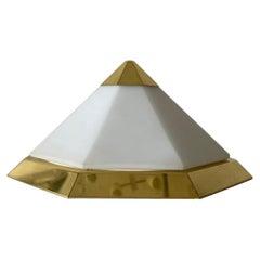 Pyramid Design Opal Glass & Gold Metal Flush Mount by Limburg, 1970s Germany