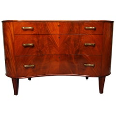 Pyramid Mahogany Chest of Drawers by Axel Larsson for SMF Bodafors Sweden, 1940s