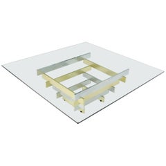 Pyramid Shape Chrome & Brass Base Square Top Coffee Table