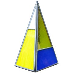 Pyramidal Belgian Colored Glass Lamp Made by Local Bruges Artist
