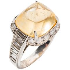 Pyramidal Cabochon Yellow Sapphire and Diamond Ring 'No heat'