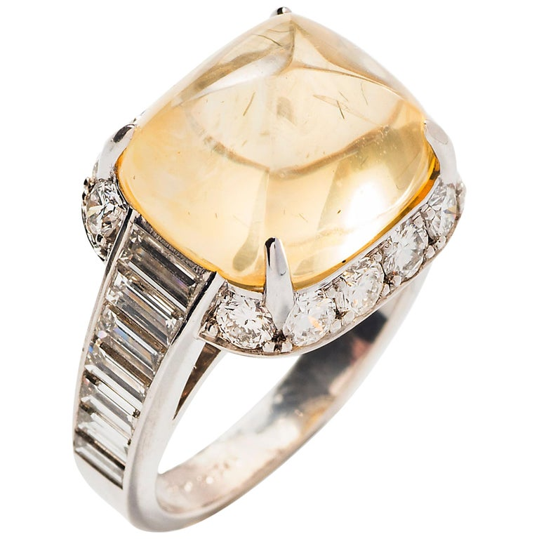 Pyramidal Cabochon Yellow Sapphire and Diamond Ring 'No heat' For Sale