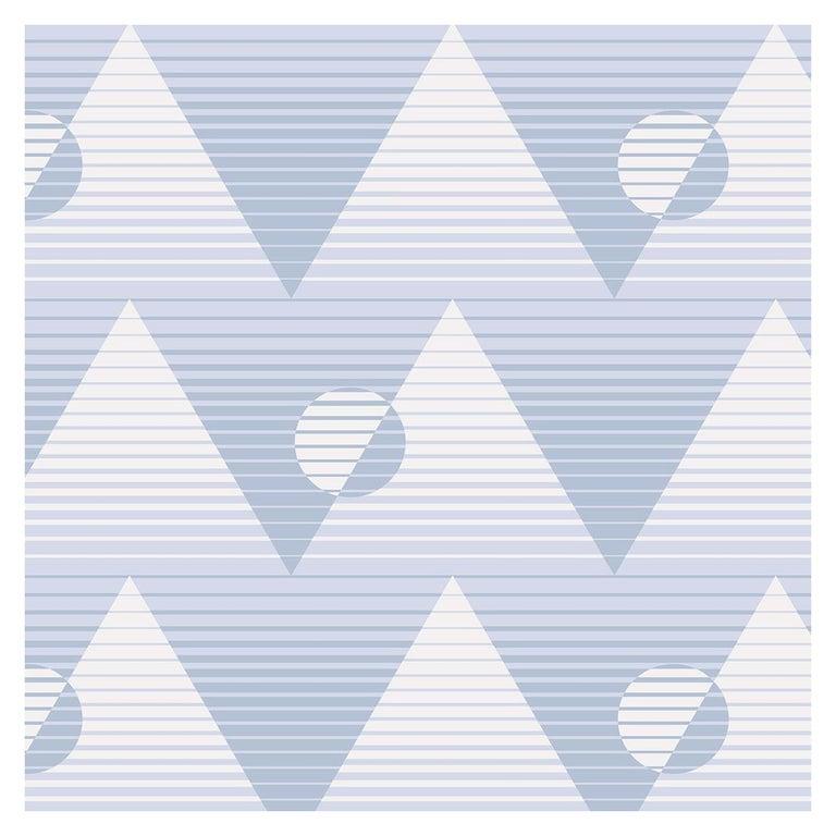 Pyramide Du Soleil Designer Wallpaper In Aquifer Pale Blue And Periwinkle