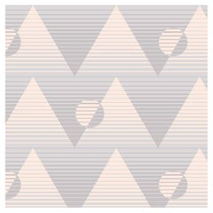 Pyramide du Soleil Designer Wallpaper in Color Hana 'Soft Grays and Peachy Pink'