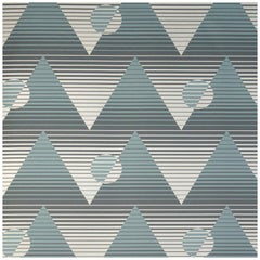 Pyramide Du Soleil Metallic Type II Wallpaper in Aegean 'Stone, Teal and Silver'