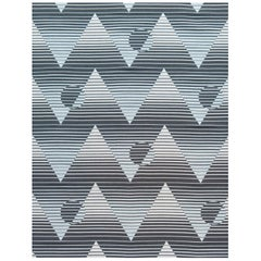 Pyramide Du Soleil Woven Commercial Grade Fabric in Halo, Black, White and Blue