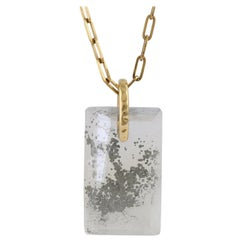 Pyrite in Quartz '31.57 Carat' and Yellow Gold Necklace