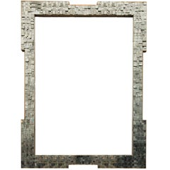 Pyrite Mirror, Art Deco Inspired French Chanel Brutalist Style, 1970s