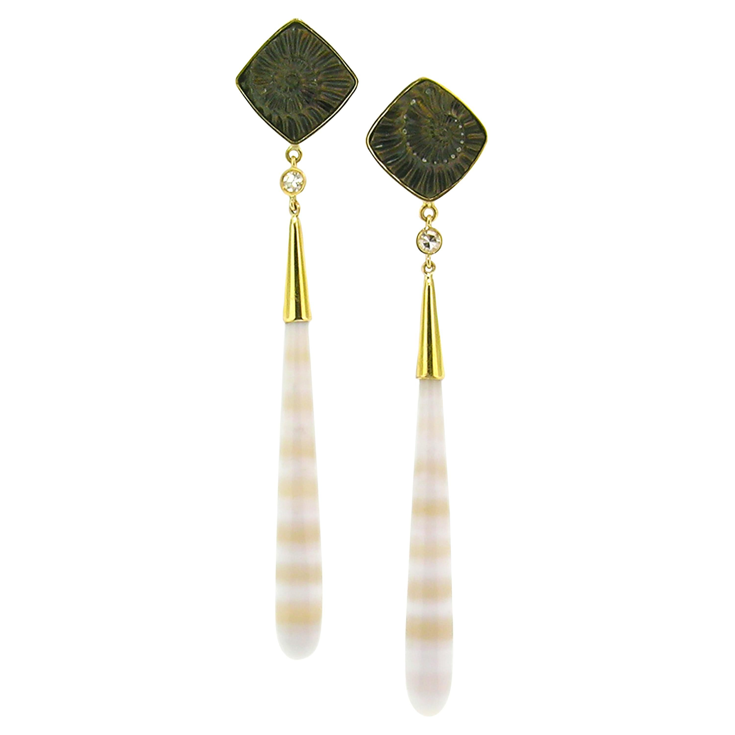 Fossil Ammonite and Banded Agate 18kt Earrings by Cynthia Scott Jewelry