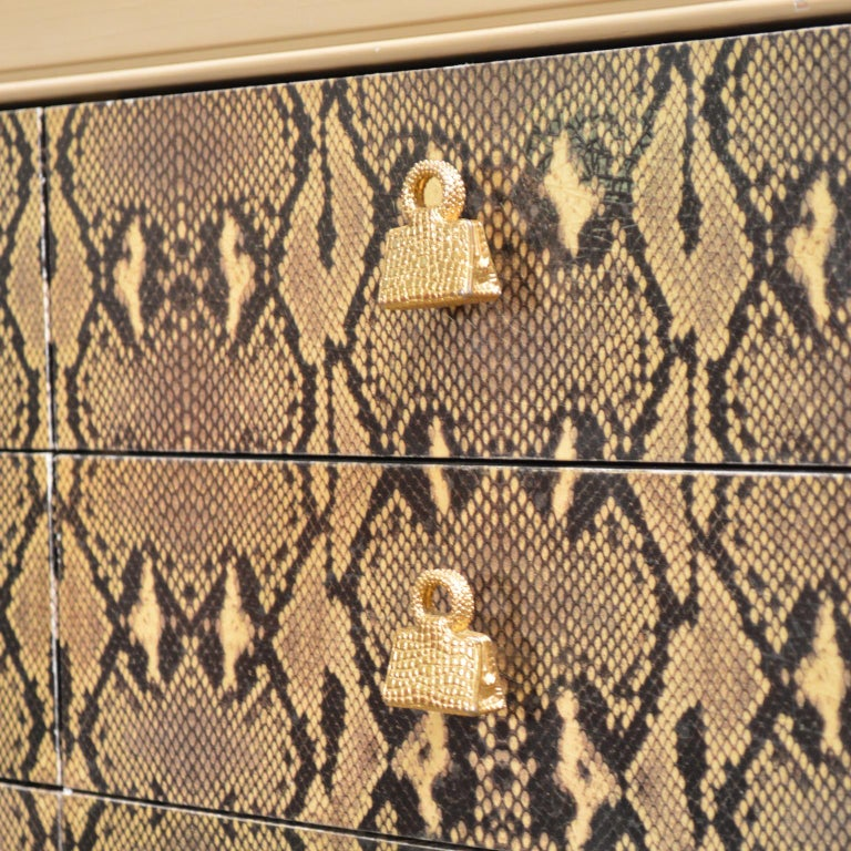 Judith Leiber Custom Python Clad Storage Cabinet with Drawers For Sale 2