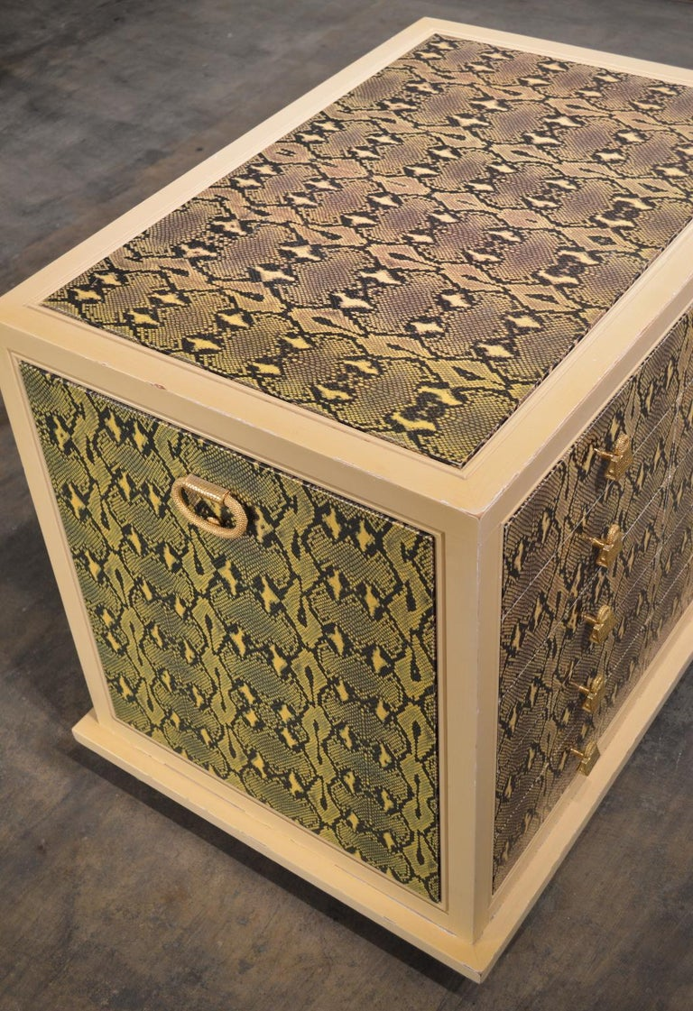 Judith Leiber Custom Python Clad Storage Cabinet with Drawers For Sale 1