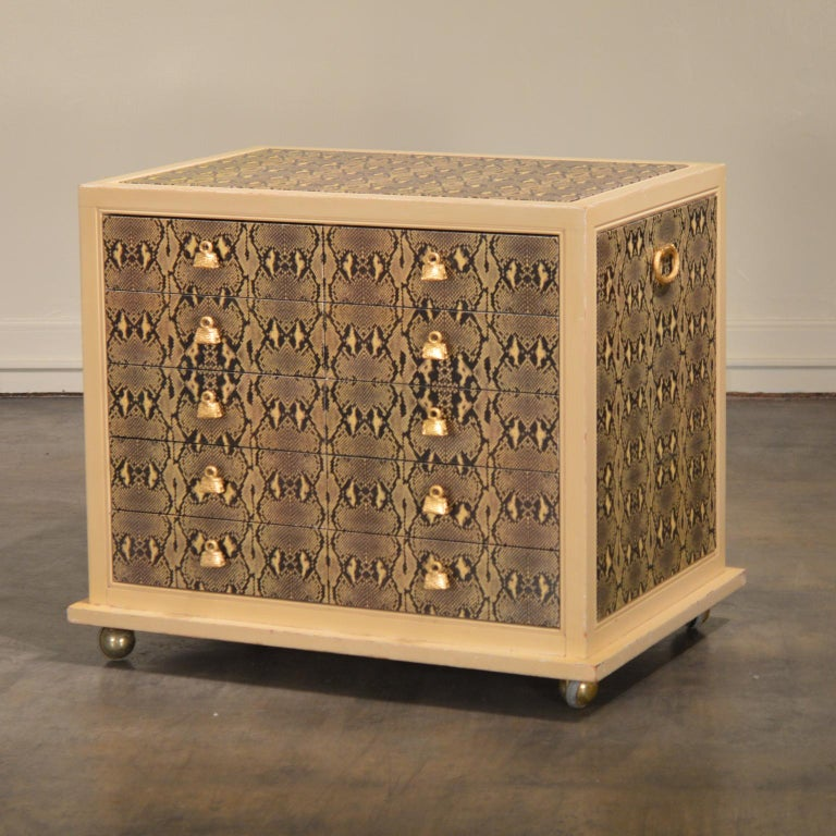 Modern Judith Leiber Custom Python Clad Storage Cabinet with Drawers For Sale
