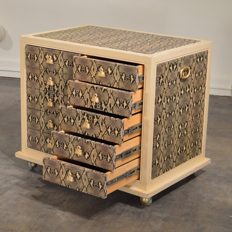 American Judith Leiber Custom Python Clad Storage Cabinet with Drawers For Sale