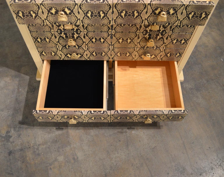 Cast Judith Leiber Custom Python Clad Storage Cabinet with Drawers For Sale