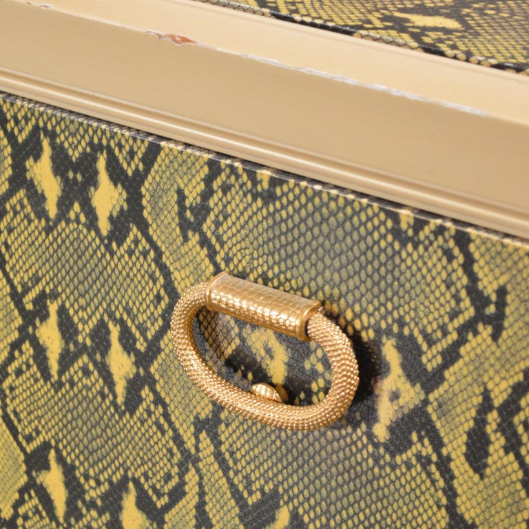 Brass Judith Leiber Custom Python Clad Storage Cabinet with Drawers For Sale