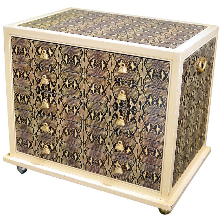 Judith Leiber Custom Python Clad Storage Cabinet with Drawers For Sale