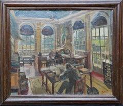 Office Interior - British 1920's Slade School Jewish art oil painting