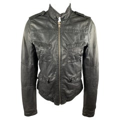 Q 40 Size S Black Distressed Band Collar Biker Jacket